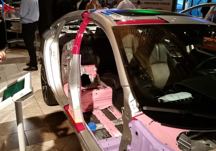 A cutaway of the 2016 Honda Civic at Great Designs in Steel demonstrates the various steels and aluminum on the vehicle. (John Huetter/Repairer Driven News)