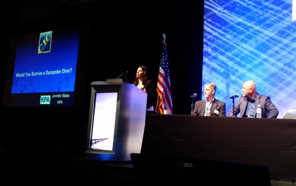 KPA client development engineer Jennifer Blake, left, and Cooks Collision Vice President Mike Barber, center, and President and Co-CEO Rick Wood shared some potential environmental regulation pitfalls at the Anaheim, Calif., Collision Industry Conference on Aug. 9, 2016. (John Huetter/Repairer Driven News)