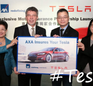 This promotional image from AXA was used to announce the partnership between the insurer and Tesla in Hong Kong. (Provided by AXA)