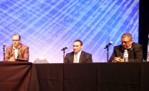 David Parzen of NSF, center, participates Aug. 9, 2016, at a panel on certification programs at the Anaheim, Calif., Collision Industry Conference. (John Huetter/Repairer Driven News)