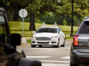 A test autonomous Ford Fusion hybrid can be seen. (Provided by Ford)