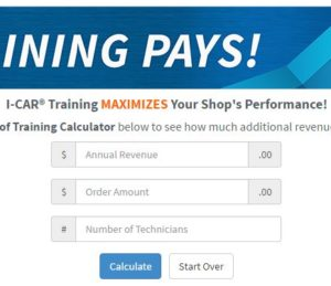 I-CAR has released a Value of Training Calculator for collision repairers. (Screenshot from www.i-car.com/trainingpays)