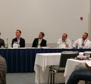 From right, in white, California Bureau of Automotive Repair officials Rick McLarty and Jaime Ramos attend a forum at NACE on Aug. 11, 2016. (John Huetter/Repairer Driven News)
