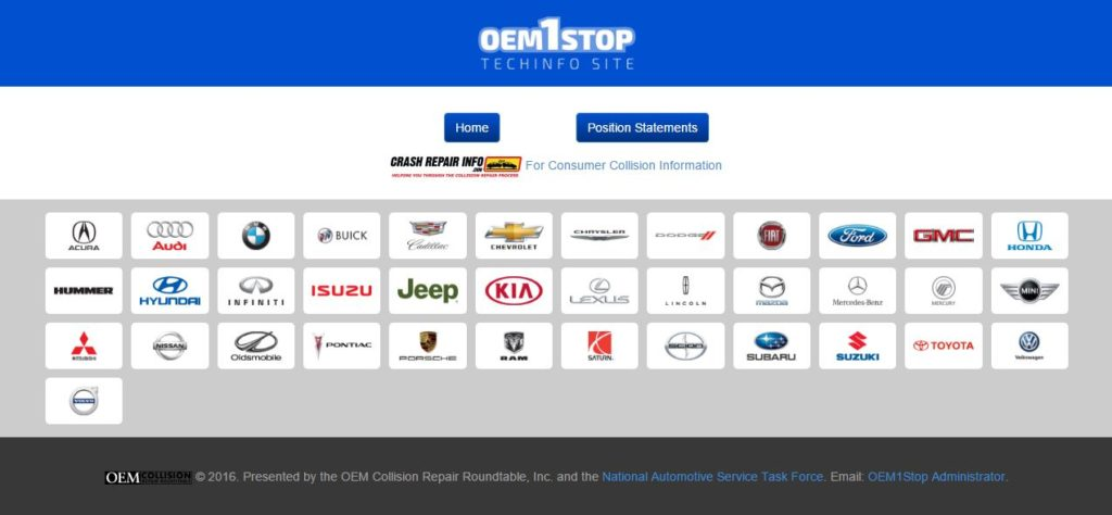 The repair procedure portal OEM1Stop.com has been updated for easier access to technical service bulletins and automaker position statements. (Screenshot from www.OEM1Stop.com)