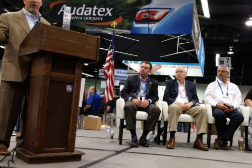 Insurers and collision repair experts from MSOs participate Aug. 11, 2016, in a NACE panel on scanning led by Collision Advice's Mike Anderson, left. (John Huetter/Repairer Driven News)