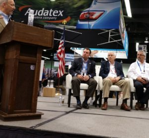 Insurers and collision repair experts from MSOs participate Aug. 11, 2016, in a NACE panel on scanning led by Collision Advice's Mike Anderson. (John Huetter/Repairer Driven News)