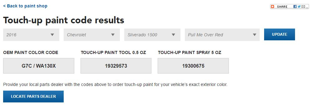 General Motors said it overhauled its paint code database. The interface is seen here in this screenshot. (Screenshot from www.genuineparts.com)