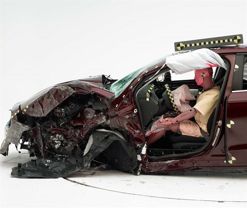 "The 2013-16 Ford Fusion/Lincoln MKZ received an ""acceptable"" on the IIHS small-overlap crash test. (Provided by Insurance Institute for Highway Safety)"