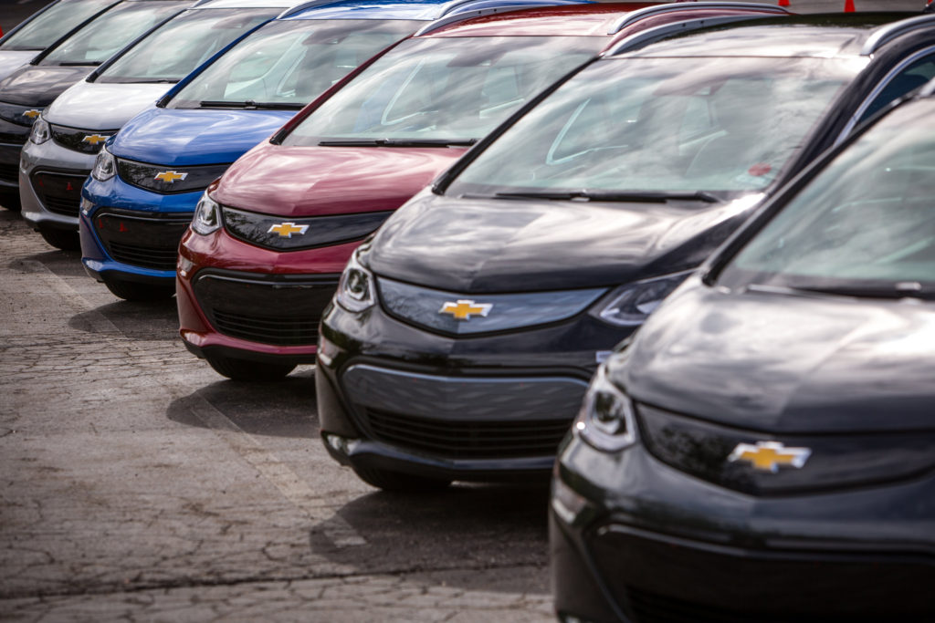 2017 Chevrolet Bolts appear at the 2016 Volt Silent Cruise on Aug. 16, 2016, at in Bloomfield Hills, Mich. (Jeffrey Sauger for Chevrolet/Copyright General Motors)