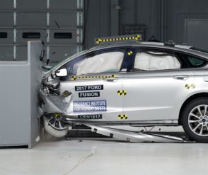 """The 2017 Ford Fusion/Lincoln MKZ received a """"good"""" on the IIHS small-overlap crash test. (Provided by Insurance Institute for Highway Safety)"""