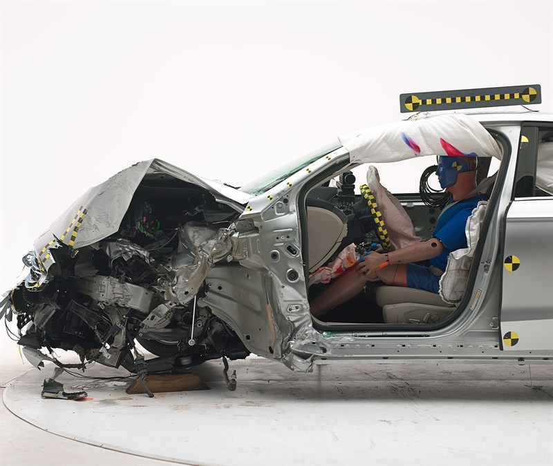 "The 2017 Ford Fusion/Lincoln MKZ received a ""good"" on the IIHS small-overlap crash test. (Provided by Insurance Institute for Highway Safety)"