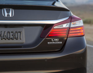 Sensors on the 2017 Honda Accord Touring are indicated by the circles on the bumper fascia. (Provided by Honda)