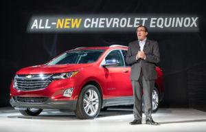 General Motors North America President Alan Batey presents the 2018 Chevrolet Equinox Sept. 22, 2016, in Chicago. (Steve Fecht for Chevrolet/Copyright General Motors)
