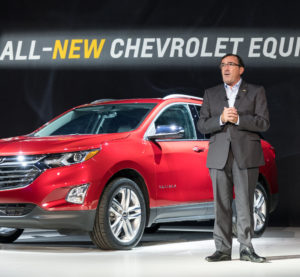 General Motors North America President Alan Batey presents the 2018 Chevrolet Equinox Sept. 22, 2016, in Chicago. (Steve Fecht for Chevrolet/Copyright General Motors)