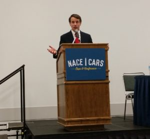 Democratic California Insurance Commissioner Dave Jones speaks Aug. 12, 2016, at NACE. (John Huetter/Repairer Driven News)