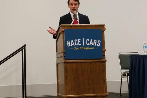 Democratic California Insurance Commissioner Dave Jones speaks Aug. 12, 2016, at NACE. (John Huetter/Repairer Driven News)