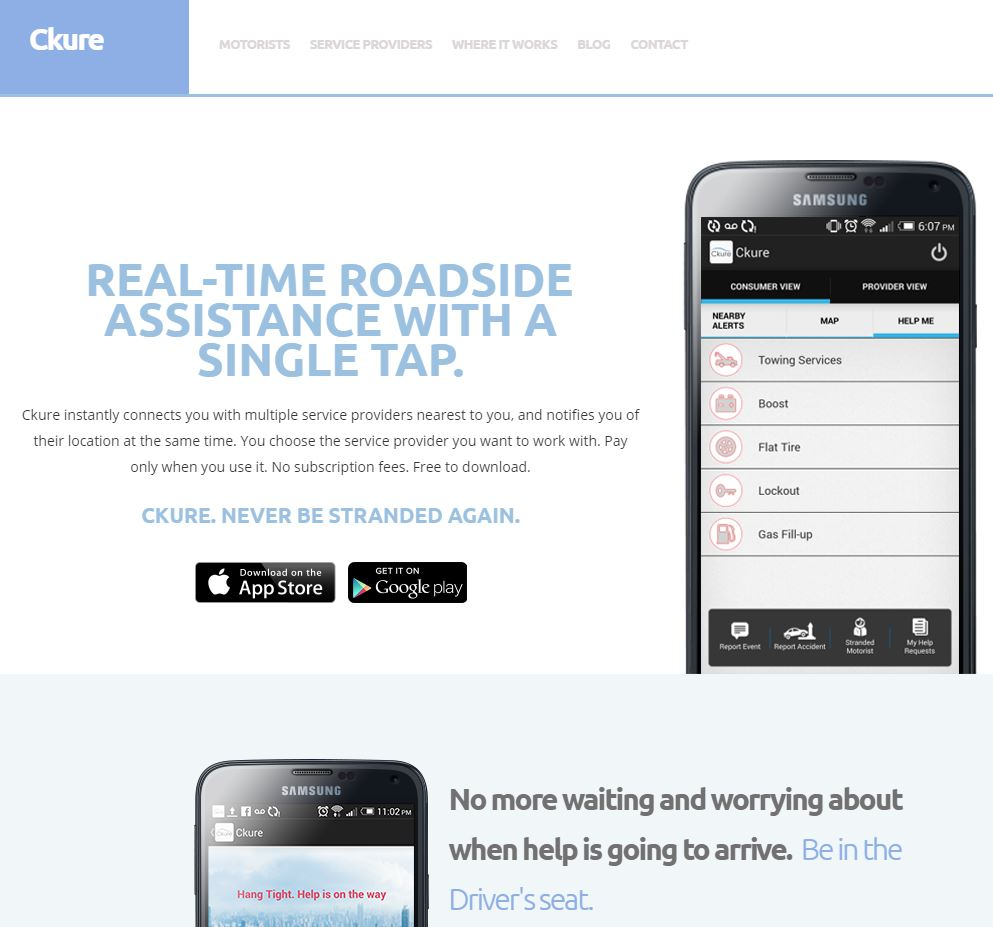 The homepage of the repairer-locating app Ckure is shown. (Screenshot from ckure.ca)