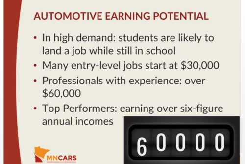"On Tuesday, AASP-MN built on its plans to sell auto body repair to counselors, announcing  a kit of resources to teachers and school advisers was available free online as part of the ""Car Careers"" initiative. This is a slide from a counselor PowerPoint presentation on the site. (Provided by Alliance of Automotive Service Providers-Minnesota)"