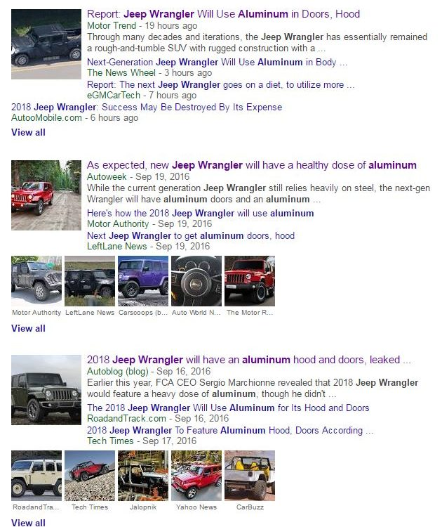 Google News on Sept. 21, 2016, displays some of the media coverage of a message board report of Alcoa aluminum on the 2018 Jeep Wrangler. FCA and Alcoa represents declined to comment on the accuracy to Repairer Driven News (Screenshot from Google News)