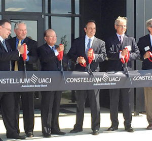 A $150 million, 225,000-square-foot automotive sheet plant, a joint Constellium-UACJ effort, opened last week in Kentucky, yet another indication of how broadly the metal could appear on new model years. (Provided by UACJ)