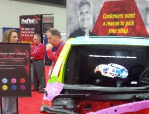 Honda ProFirst marketing can be seen in the background of Honda's 2015 NACE booth. (John Huetter/Repairer Driven News)