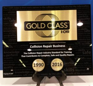 I-CAR advertises its Gold Class program at NACE in August 2016. (John Huetter/Repairer Driven News)
