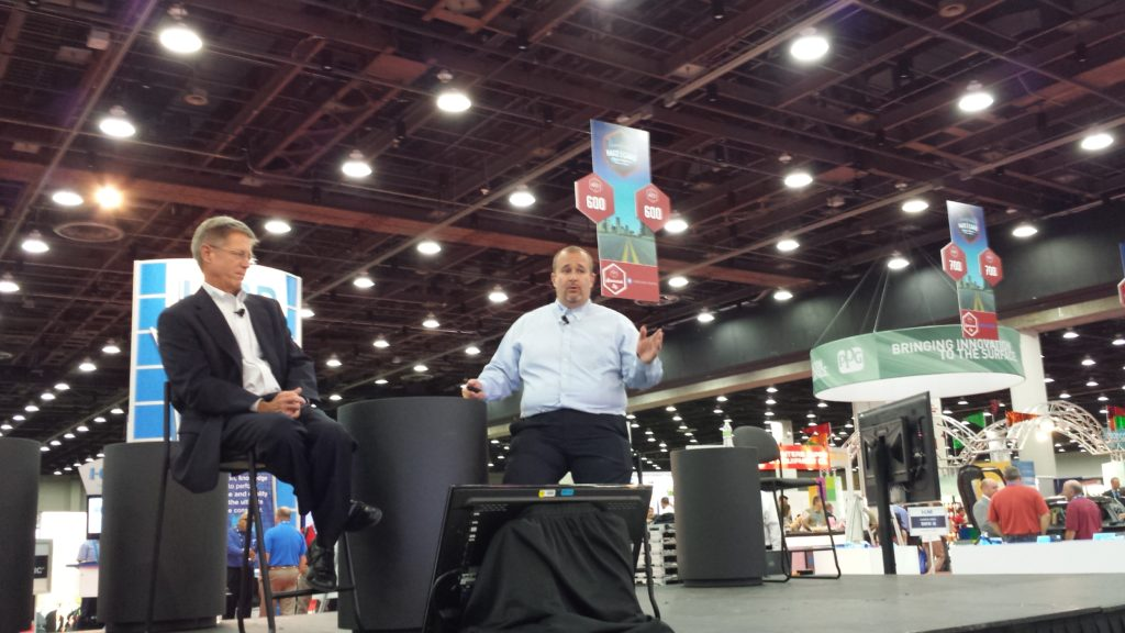 I-CAR CEO John Van Alstyne, left, and curriculum and product development Director Josh McFarlin announced the I-CAR production management role July 23, 2015. (John Huetter/Repairer Driven News)