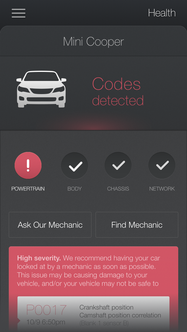 This sample app screenshot shows just how specifically Metromile says it'll scan your car. (Provided by Metromile)