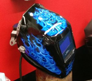 A welding mask sits in the SEMA Garage in 2016 during a tour. (John Huetter/Repairer Driven News)