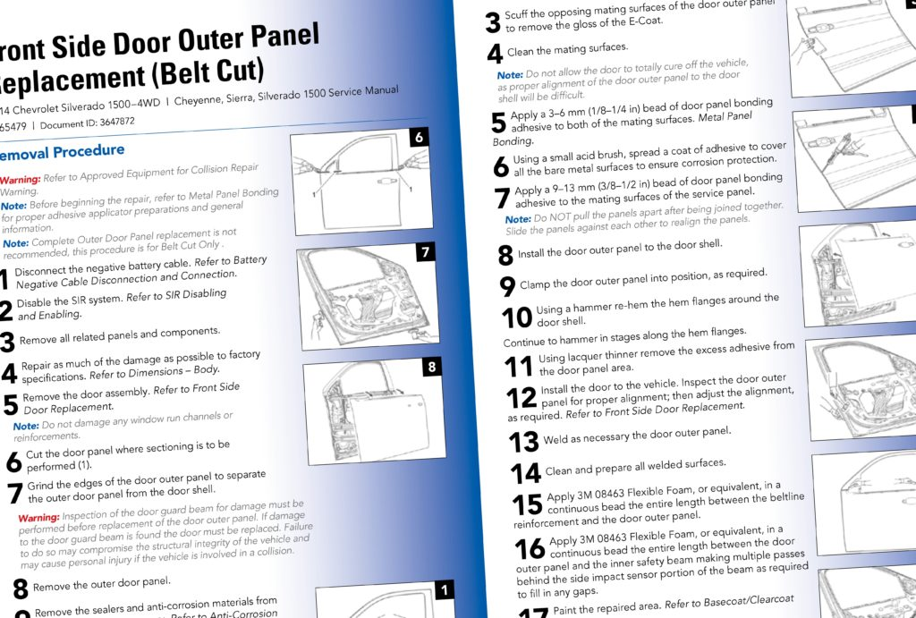 General Motors in its Sept. 1, 2016 GM Repair Insights magazine offered instructions and rationale for belt-cutting certain truck and SUV doors following design changes in models like the 2014 Chevrolet Silverado/GMC Sierra and 2015 full-size SUVs. (Provided by General Motors/Copyright General Motors)