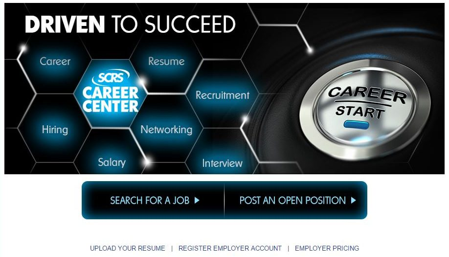 A screenshot from the Society of Collision Repair Specialists Career Center, which is part of a jobs network that includes the Auto Care Association and SEMA. (Screenshot from www.scrs.com/jobs)