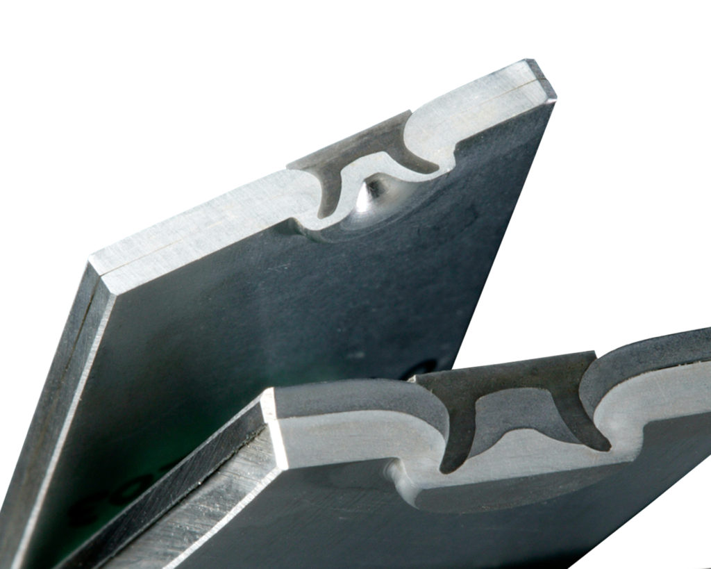 A self-piercing rivet joins aluminum to aluminum (top) and aluminum to high-strength steel. Stanley calls the joining watertight, a useful means of warding off galvanic corrosion from dissimilar metals. (Provided by Stanley)