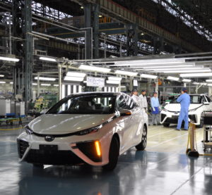 Production of the Toyota Mirai, now on sale in the U.S. (Provided by Toyota)