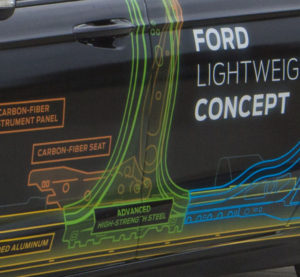 This close-up of a Ford concept Fusion uses carbon fiber to save weight. (Provided by Ford)