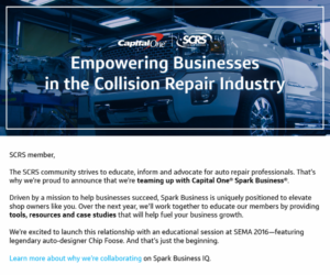Capital One Spark Business, a small business-focused segment of the credit card giant, recently announced a partnership with the Society of Collision Repair Specialists geared at bringing Spark Business' solutions and advice to auto body shops. (Provided by SCRS)