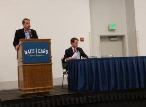 Democratic California Insurance Commissioner Dave Jones, right, waits before speaking at a California Autobody Association event at NACE on Aug. 12, 2016. (John Huetter/Repairer Driven News)