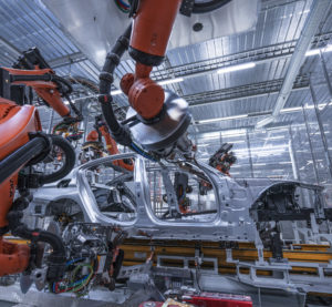 A 5 Series underbody structure is welded in BMW's Dingolfing, Germany, plant in October 2016. (Provided by BMW)
