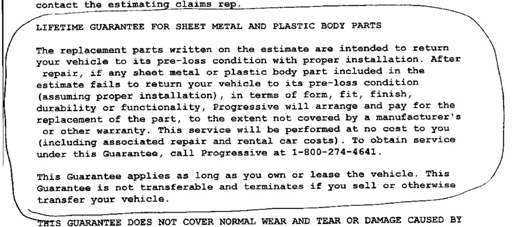 A Progressive guarantee promises to make the customer whole on sheet metal or plastic body parts. (Provided by Capital Collision Center)