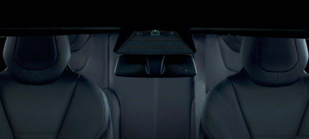 The three-camera Tesla rearview mirror for Full Self-Driving Capability in a photo provided by Tesla in 2016. (Provided by Tesla)