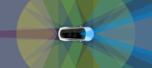 Tesla Full Self-Driving Capability in a rendering provided by Tesla in 2016. (Provided by Tesla)