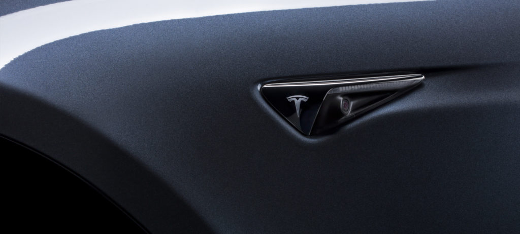 Tesla side repeater camera for Full Self-Driving Capability in a photo provided by Tesla in 2016. (Provided by Tesla)