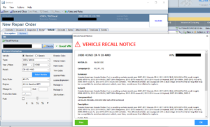 A sample CCC TRUE Recall notice a repairer would see in CCC ONE under a new CCC-Honda partnership. (Provided by CCC)
