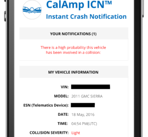 A redacted screenshot from CalAmp's Instant Crash Notification system.  (Provided by CalAmp via Collision Repair Magazine)