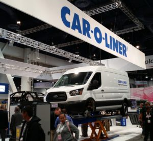The Car-O-Liner booth sits at SEMA 2015. (John Huetter/Repairer Driven News)