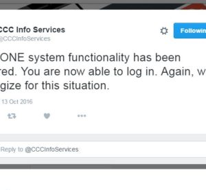 CCC is back up and running, the estimating service posted on Twitter. (Screenshot of CCC Twitter feed)