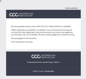 Estimating platform CCC sent this message out to users via email. (Screenshot from CCC)