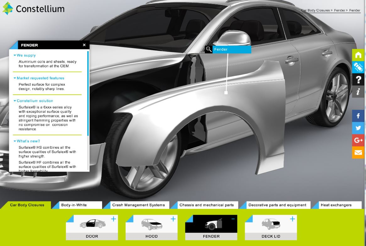 Slick Constellium 3D Interactive Shows Auto Body Parts It