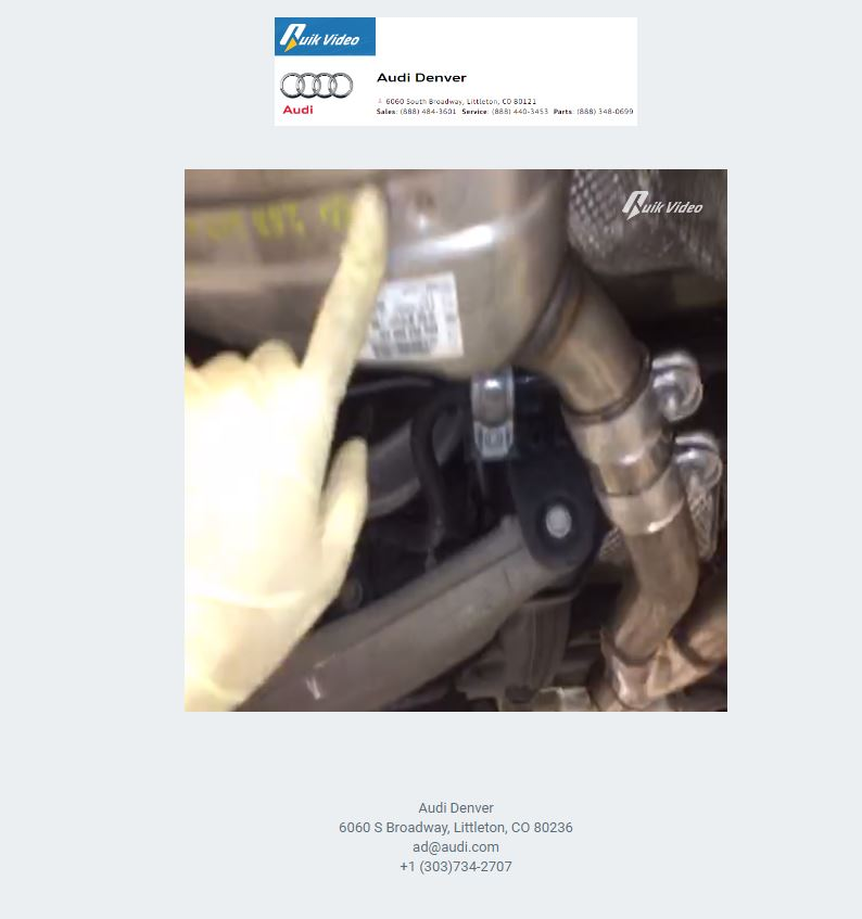 This screenshot shows a unique webpage sent to Audi Denver customer Lisa Simonyi. It features a video of a technician explaining what he has seen on her video. (Audi Denver Quik Video footage provided by Lisa Simonyi)