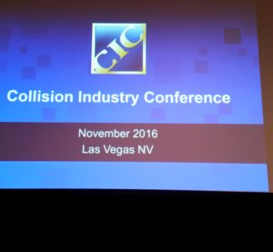 The CIC logo appears at Day 1 of the November 2016 CIC. (John Huetter/Repairer Driven News)