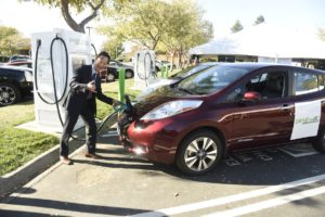 A Nissan Leaf is featured at the grand opening of the DRIVETHEARC network of fast chargers in California. (Provided by Nissan)